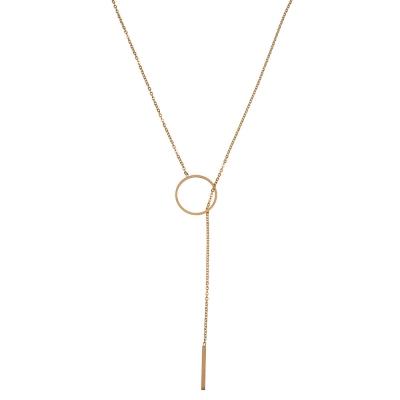 Halskette lange Edelstahl Kreis Bar - Gold