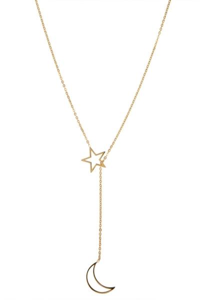Halskette lange Edelstahl Stern Mond - Gold