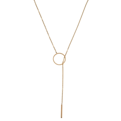 Necklace Long Stainless Steel Circle Bar - Gold